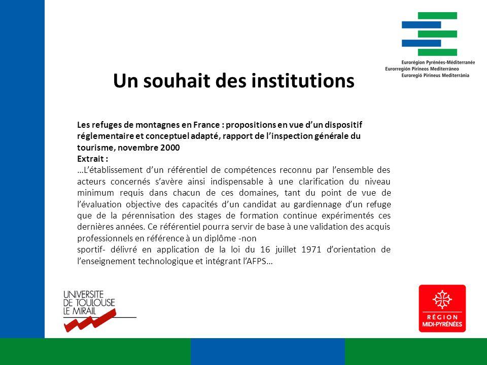 Un souhait des institutions Les refuges de montagnes en France : propositions en vue dun dispositif réglementaire et conceptuel adapté, rapport de lin