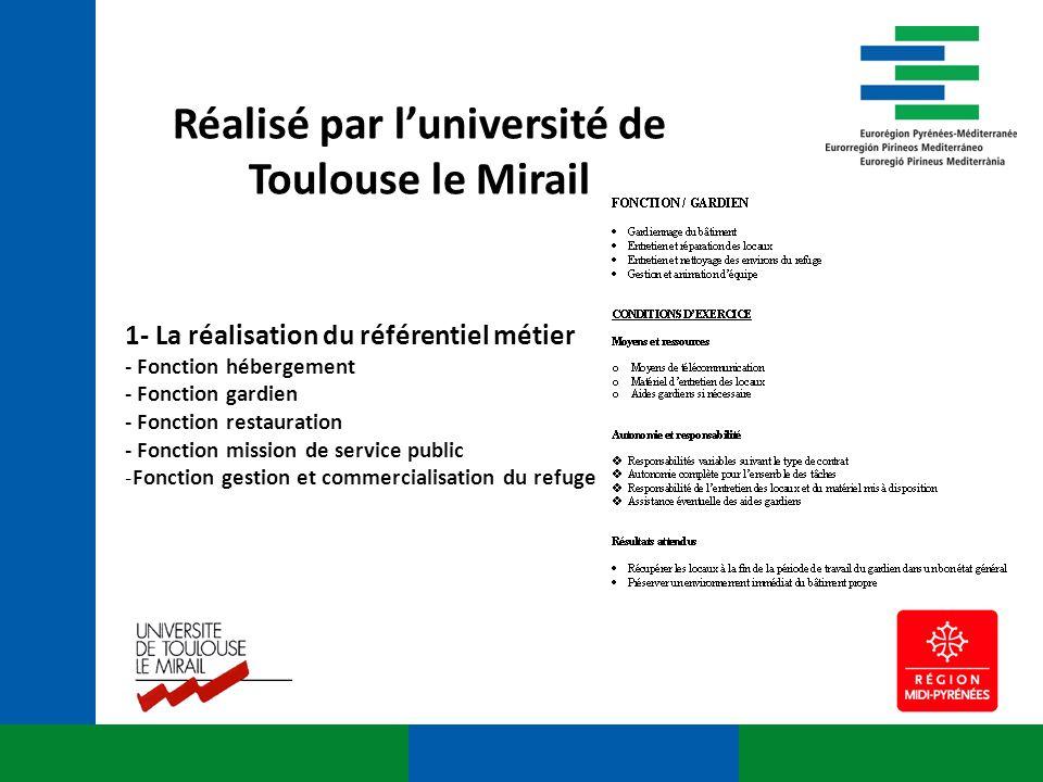 Réalisé par luniversité de Toulouse le Mirail 1- La réalisation du référentiel métier - Fonction hébergement - Fonction gardien - Fonction restauratio