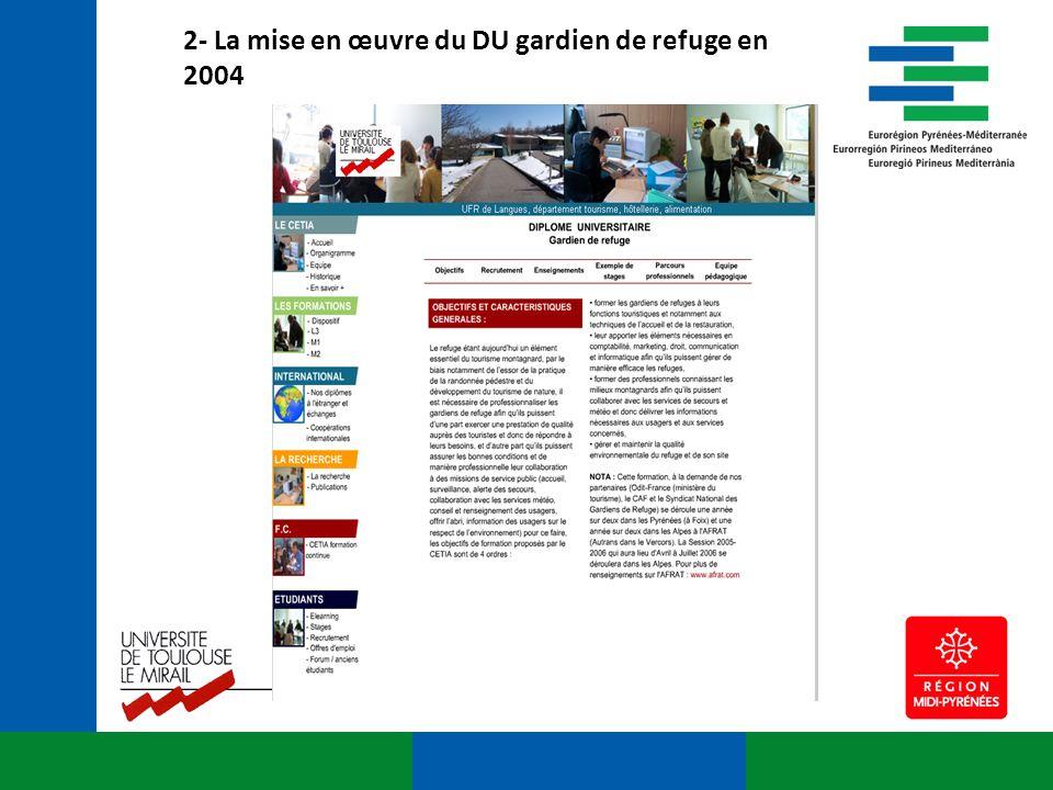 2- La mise en œuvre du DU gardien de refuge en 2004