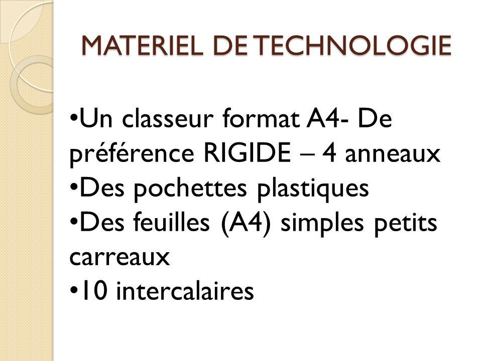MATERIEL DE TECHNOLOGIE Un classeur format A4- De préférence RIGIDE – 4 anneaux Des pochettes plastiques Des feuilles (A4) simples petits carreaux 10