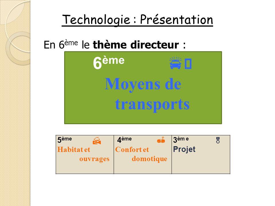 Technologie : Présentation En 6 ème le thème directeur : 5 ème Habitat et ouvrages 4 ème Confort et domotique 3 èm e Projet 6 ème Moyens de transports