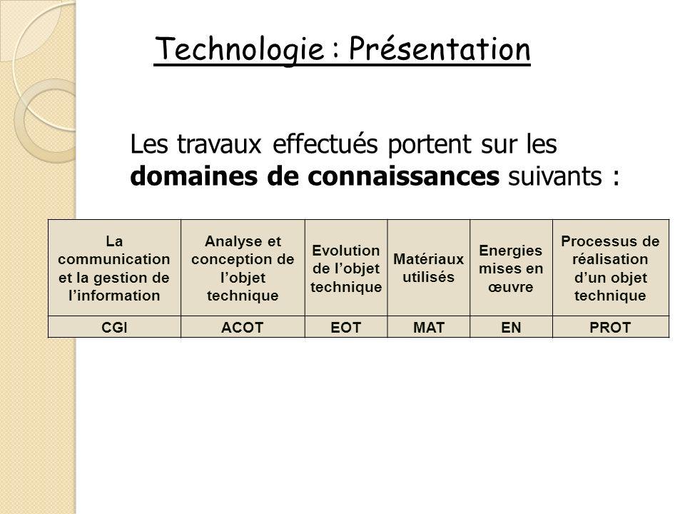 Technologie : Présentation Les travaux effectués portent sur les domaines de connaissances suivants : La communication et la gestion de linformation A