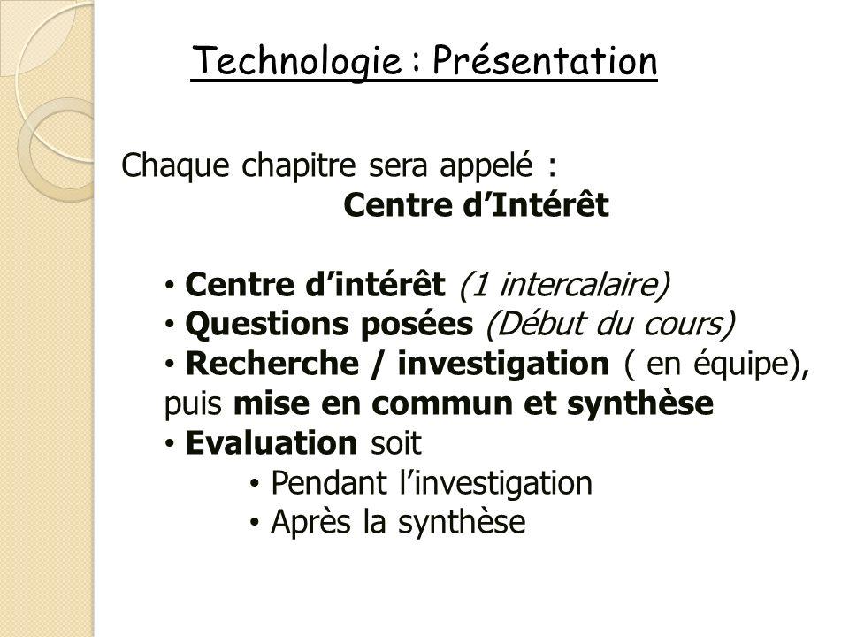 Technologie : Présentation Chaque chapitre sera appelé : Centre dIntérêt Centre dintérêt (1 intercalaire) Questions posées (Début du cours) Recherche