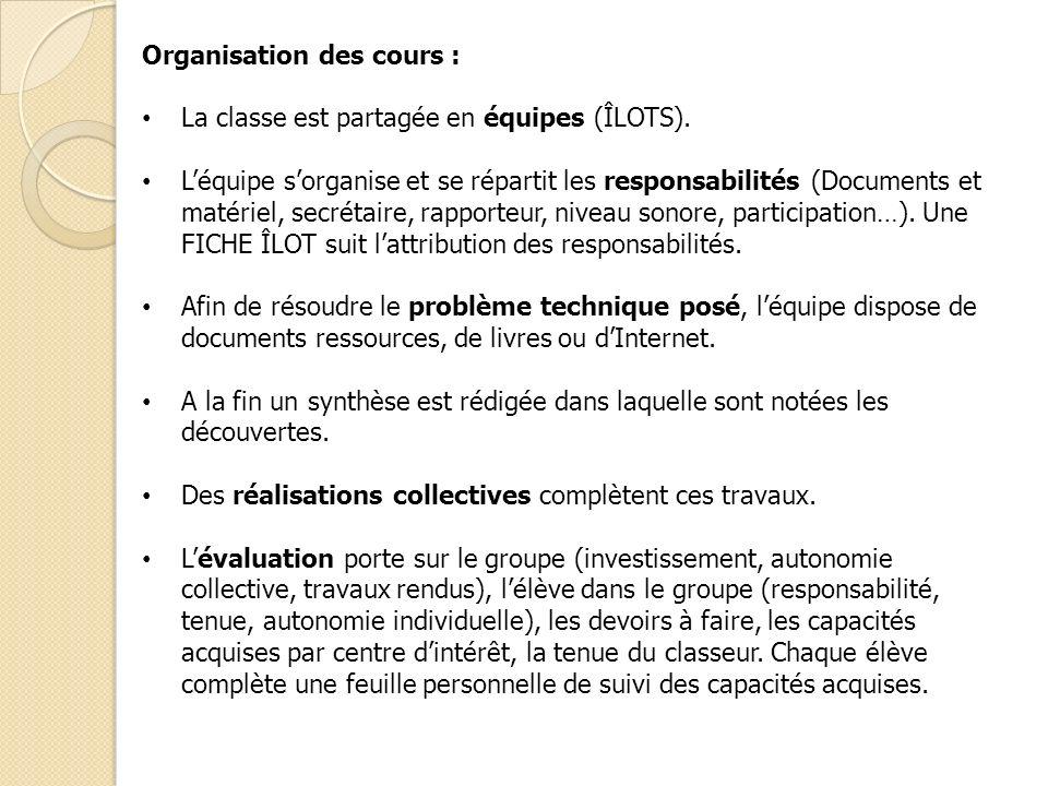 Organisation des cours : La classe est partagée en équipes (ÎLOTS). Léquipe sorganise et se répartit les responsabilités (Documents et matériel, secré