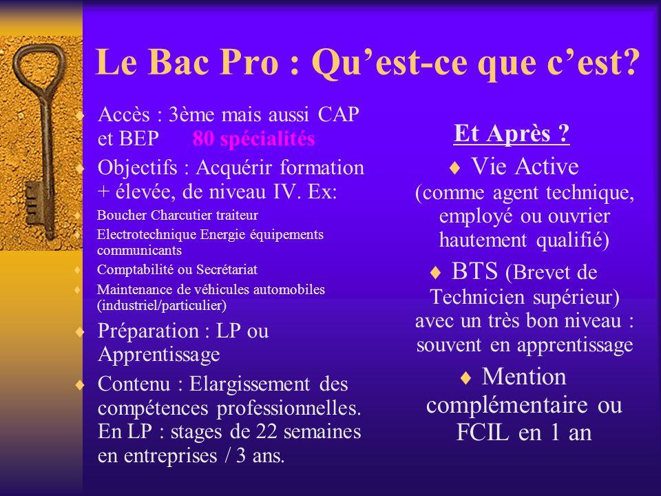 Le Bac Pro : Quest-ce que cest? Accès : 3ème mais aussi CAP et BEP 80 spécialités Objectifs : Acquérir formation + élevée, de niveau IV. Ex: Boucher C