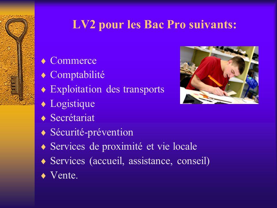 LV2 pour les Bac Pro suivants: Commerce Comptabilité Exploitation des transports Logistique Secrétariat Sécurité-prévention Services de proximité et v