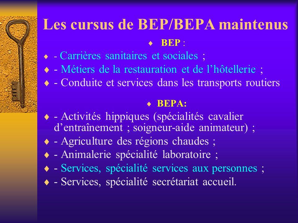 Les cursus de BEP/BEPA maintenus BEP : - Carrières sanitaires et sociales ; - Métiers de la restauration et de lhôtellerie ; - Conduite et services da