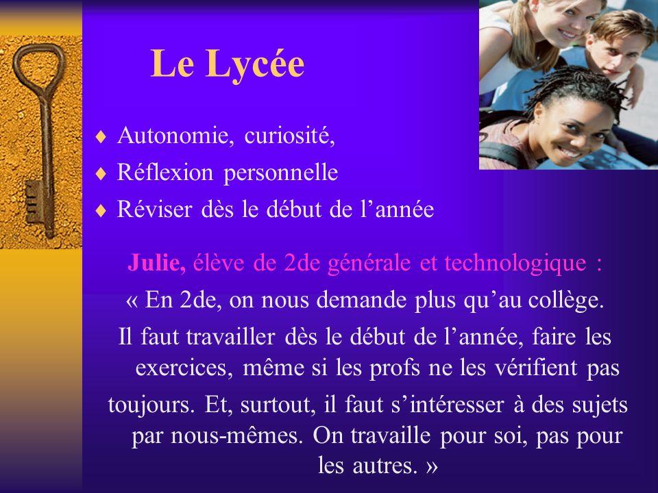Le Lycée Autonomie, curiosité, Réflexion personnelle Réviser dès le début de lannée Julie, élève de 2de générale et technologique : « En 2de, on nous