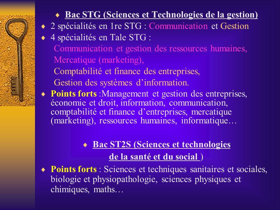 Bac STG (Sciences et Technologies de la gestion) 2 spécialités en 1re STG : Communication et Gestion 4 spécialités en Tale STG : Communication et gest