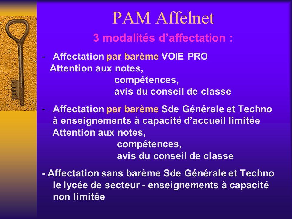PAM Affelnet 3 modalités daffectation : -Affectation par barème VOIE PRO Attention aux notes, compétences, avis du conseil de classe -Affectation par