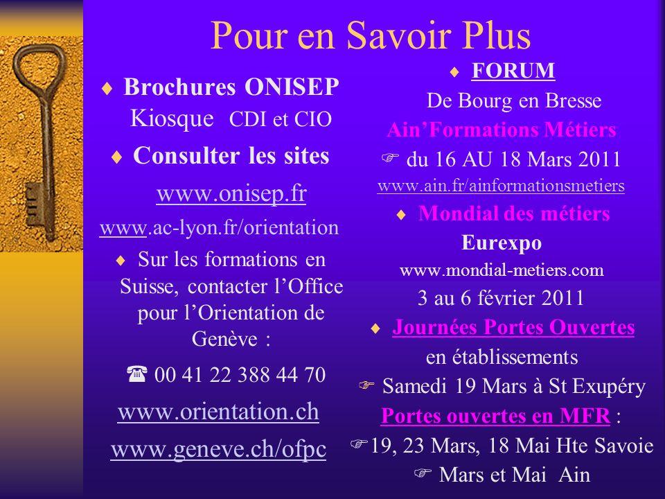 Pour en Savoir Plus Brochures ONISEP Kiosque CDI et CIO Consulter les sites www.onisep.fr wwwwww.ac-lyon.fr/orientation Sur les formations en Suisse,