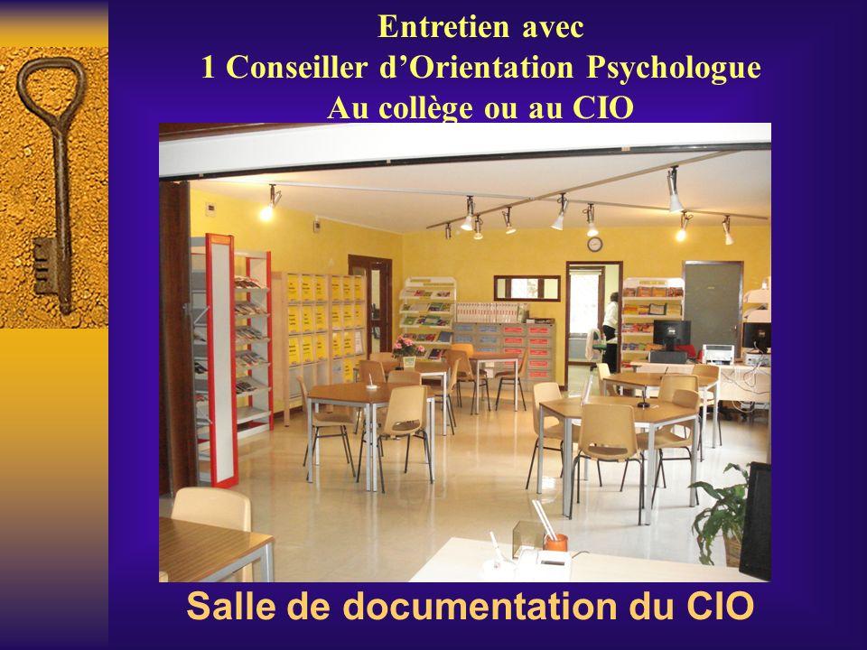 Salle de documentation du CIO Entretien avec 1 Conseiller dOrientation Psychologue Au collège ou au CIO
