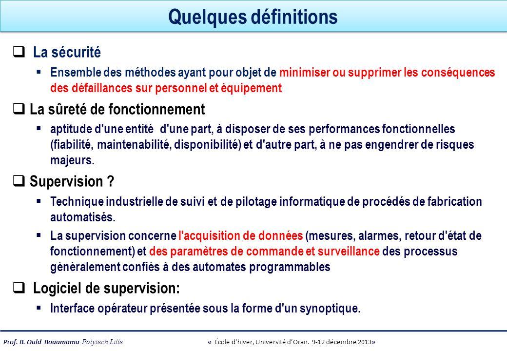 Prof. B. Ould Bouamama Polytech Lille « École dhiver, Université dOran. 9-12 décembre 2013» Quelques définitions La sécurité Ensemble des méthodes aya