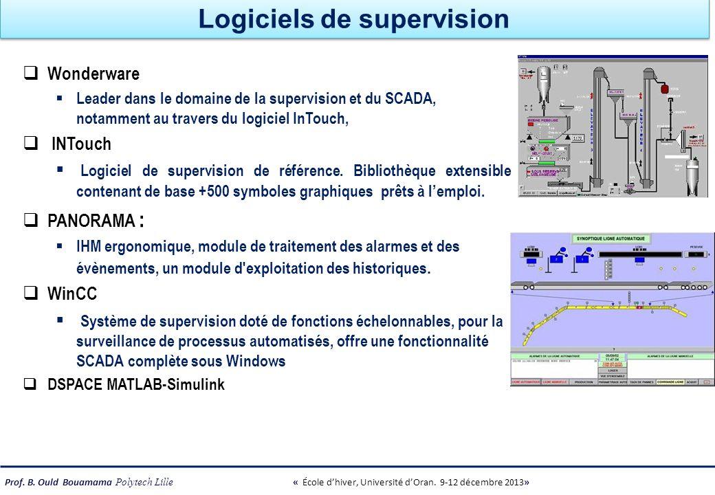 Prof. B. Ould Bouamama Polytech Lille « École dhiver, Université dOran. 9-12 décembre 2013» Logiciels de supervision Wonderware Leader dans le domaine