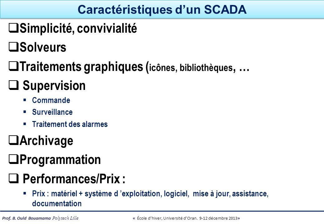 Prof. B. Ould Bouamama Polytech Lille « École dhiver, Université dOran. 9-12 décembre 2013» Caractéristiques dun SCADA Simplicité, convivialité Solveu