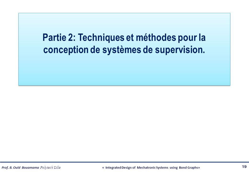 Prof. B. Ould Bouamama PolytechLille « Integrated Design of Mechatronic Systems using Bond Graphs» Partie 2: Techniques et méthodes pour la conception