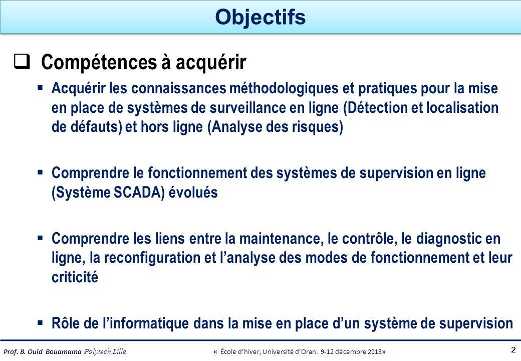 Prof. B. Ould Bouamama Polytech Lille « École dhiver, Université dOran. 9-12 décembre 2013» Objectifs Compétences à acquérir Acquérir les connaissance
