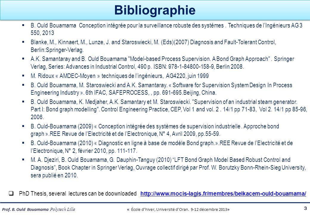 Prof. B. Ould Bouamama Polytech Lille « École dhiver, Université dOran. 9-12 décembre 2013» Bibliographie B. Ould Bouamama Conception intégrée pour la