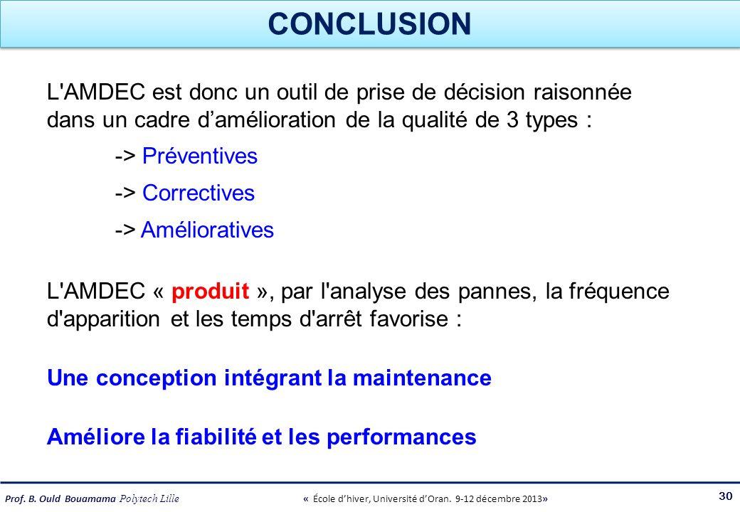 Prof. B. Ould Bouamama Polytech Lille « École dhiver, Université dOran. 9-12 décembre 2013» CONCLUSION 30 L'AMDEC « produit », par l'analyse des panne