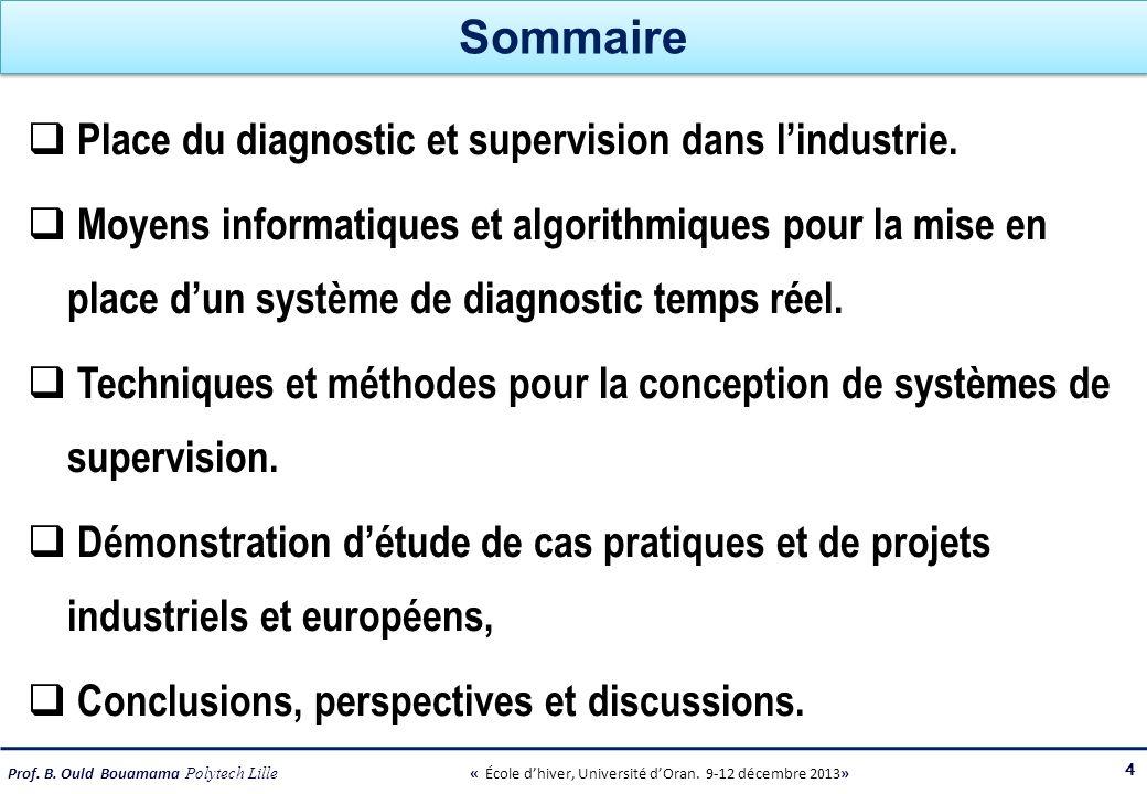 Prof. B. Ould Bouamama Polytech Lille « École dhiver, Université dOran. 9-12 décembre 2013» Sommaire Place du diagnostic et supervision dans lindustri