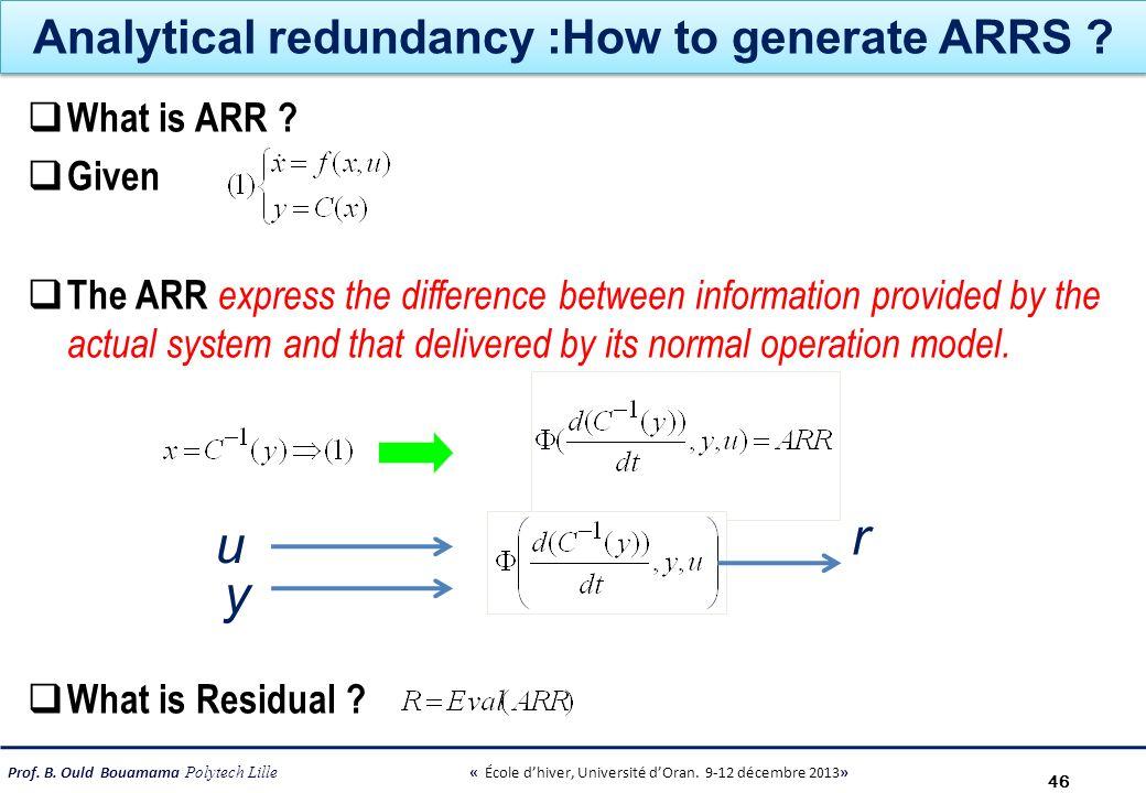 Prof. B. Ould Bouamama Polytech Lille « École dhiver, Université dOran. 9-12 décembre 2013» Analytical redundancy :How to generate ARRS ? What is ARR
