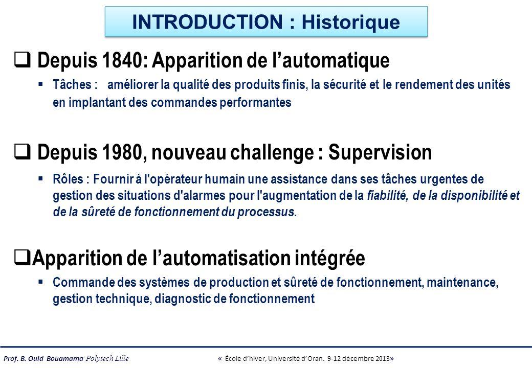 Prof. B. Ould Bouamama Polytech Lille « École dhiver, Université dOran. 9-12 décembre 2013» INTRODUCTION : Historique Depuis 1840: Apparition de lauto