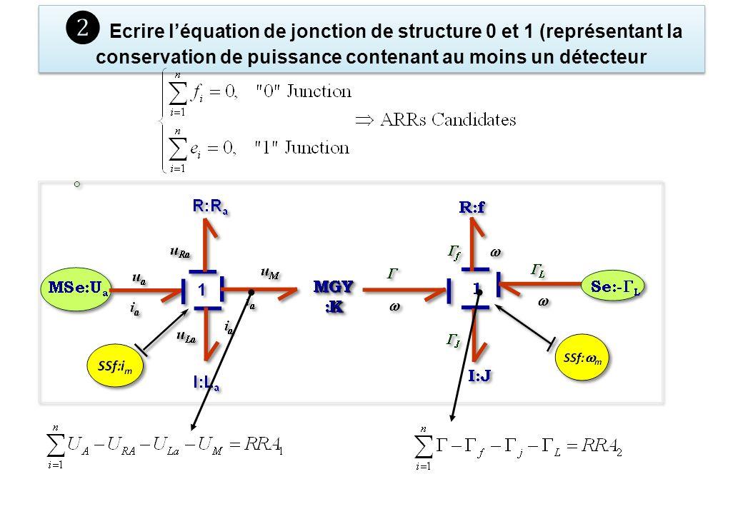 Ecrire léquation de jonction de structure 0 et 1 (représentant la conservation de puissance contenant au moins un détecteur