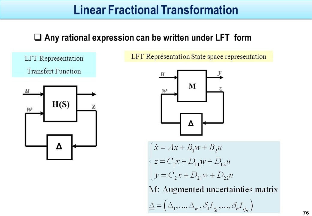Linear Fractional Transformation Any rational expression can be written under LFT form 76 LFT Representation Transfert Function LFT Représentation Sta