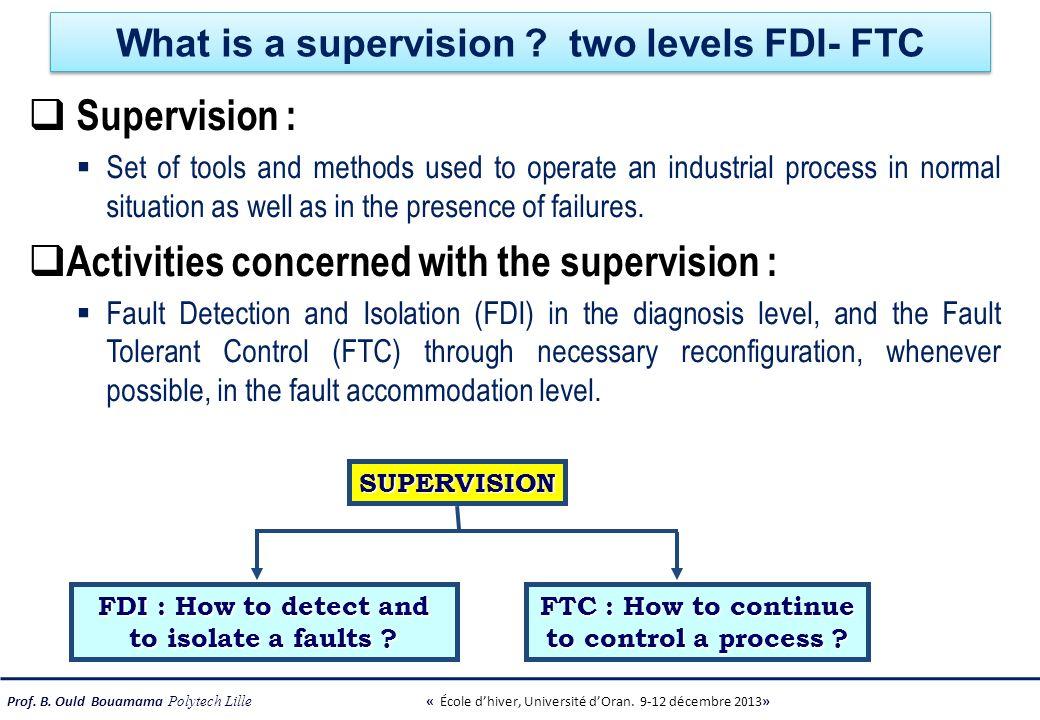 Prof. B. Ould Bouamama Polytech Lille « École dhiver, Université dOran. 9-12 décembre 2013» What is a supervision ? two levels FDI- FTC Supervision :