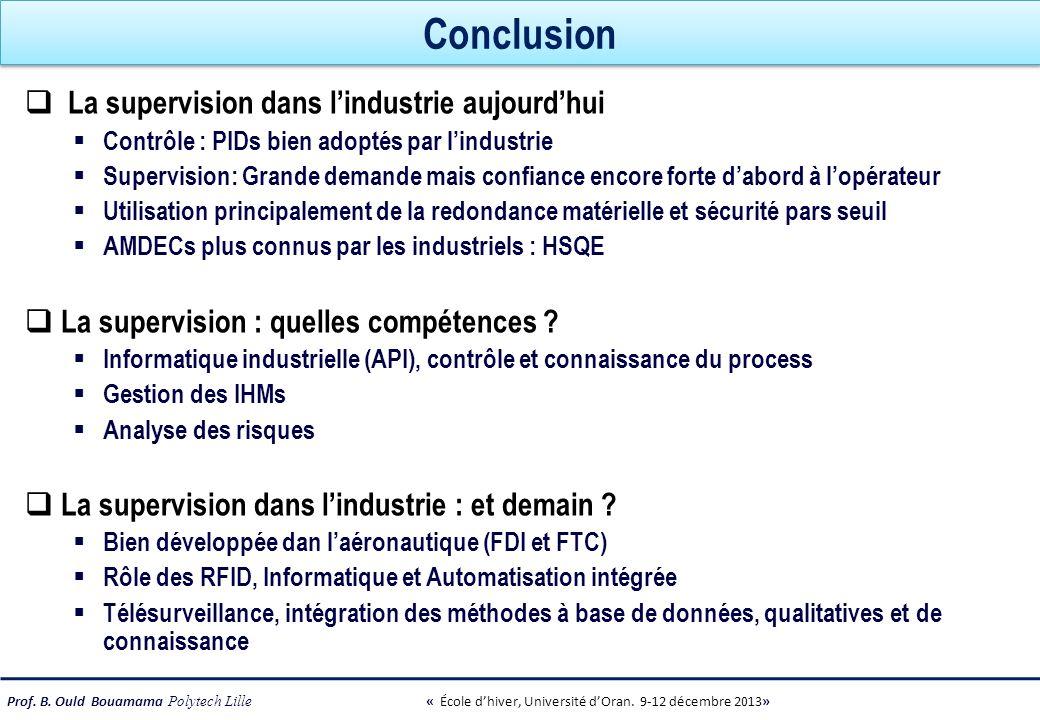 Prof. B. Ould Bouamama Polytech Lille « École dhiver, Université dOran. 9-12 décembre 2013» Conclusion La supervision dans lindustrie aujourdhui Contr