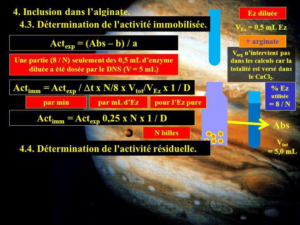 4. Inclusion dans lalginate. Ez diluée V Ez = 0,5 mL Ez V arg nintervient pas dans les calculs car la totalité est versé dans le CaCl 2. + arginate 4.