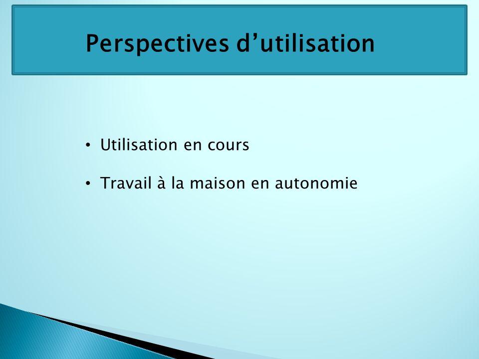 Perspectives dutilisation Utilisation en cours Travail à la maison en autonomie