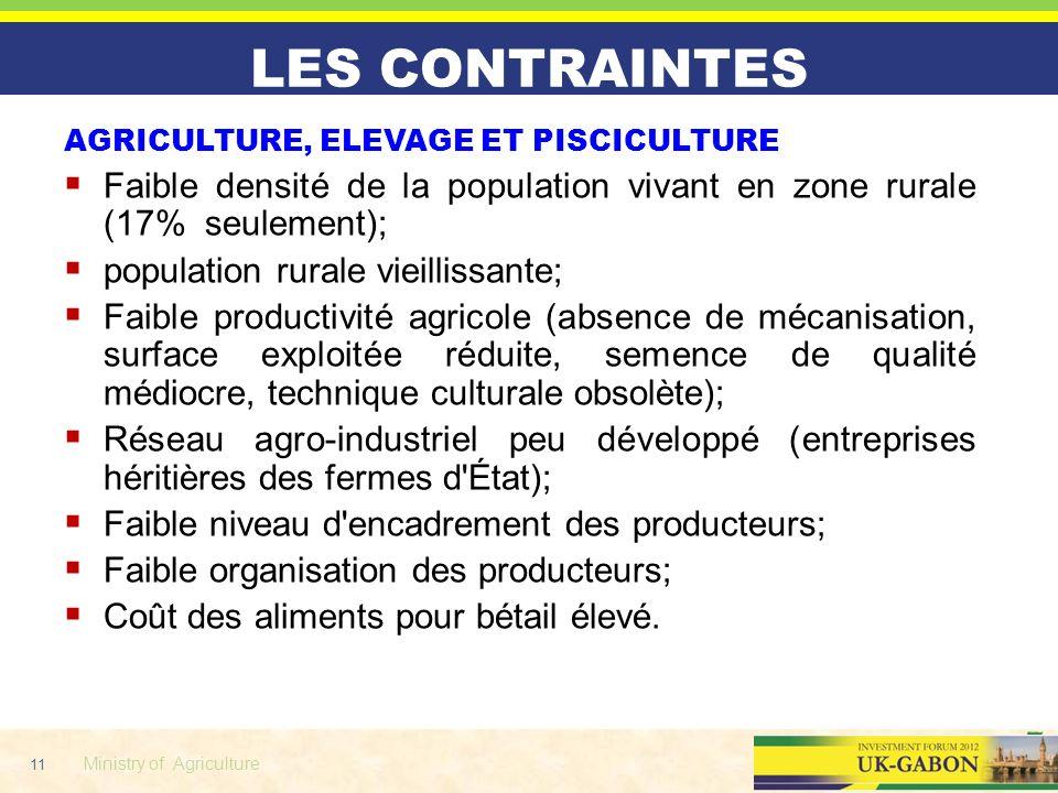 11 Ministry of Agriculture LES CONTRAINTES AGRICULTURE, ELEVAGE ET PISCICULTURE Faible densité de la population vivant en zone rurale (17% seulement);