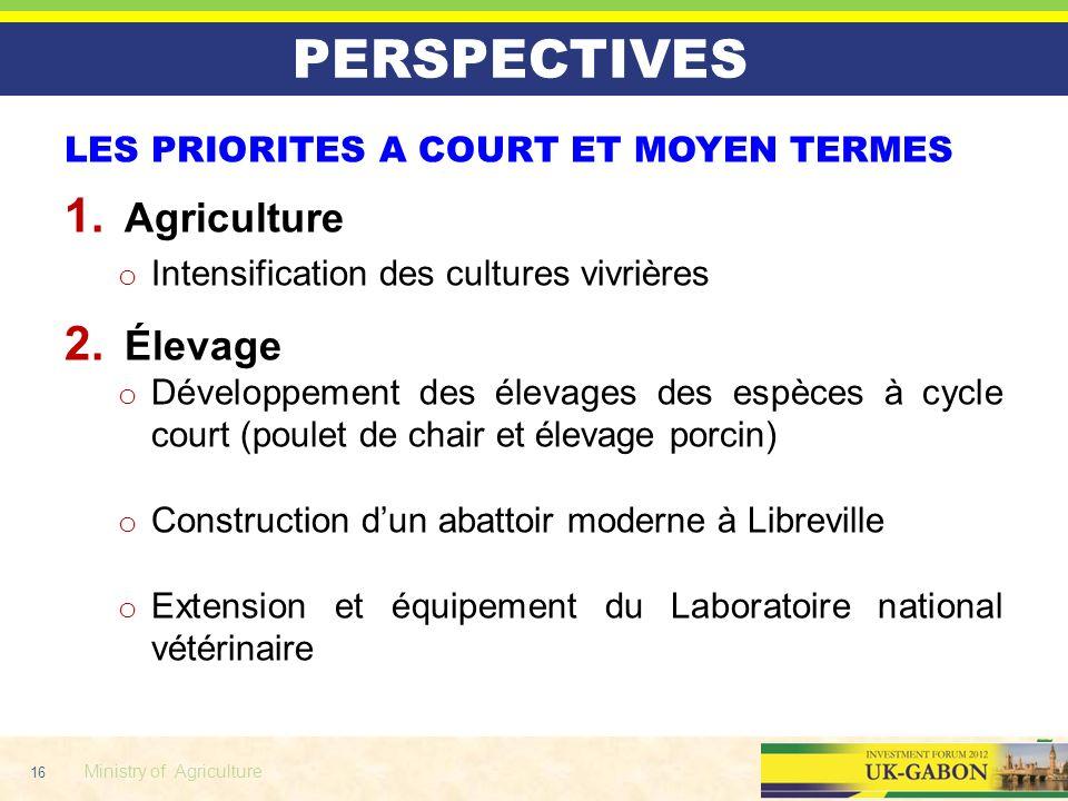 16 Ministry of Agriculture PERSPECTIVES LES PRIORITES A COURT ET MOYEN TERMES 1. Agriculture o Intensification des cultures vivrières 2. Élevage o Dév