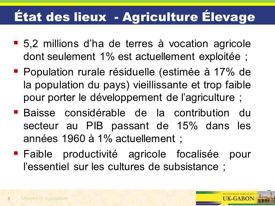 3 Ministry of Agriculture État des lieux - Agriculture Élevage 5,2 millions dha de terres à vocation agricole dont seulement 1% est actuellement explo