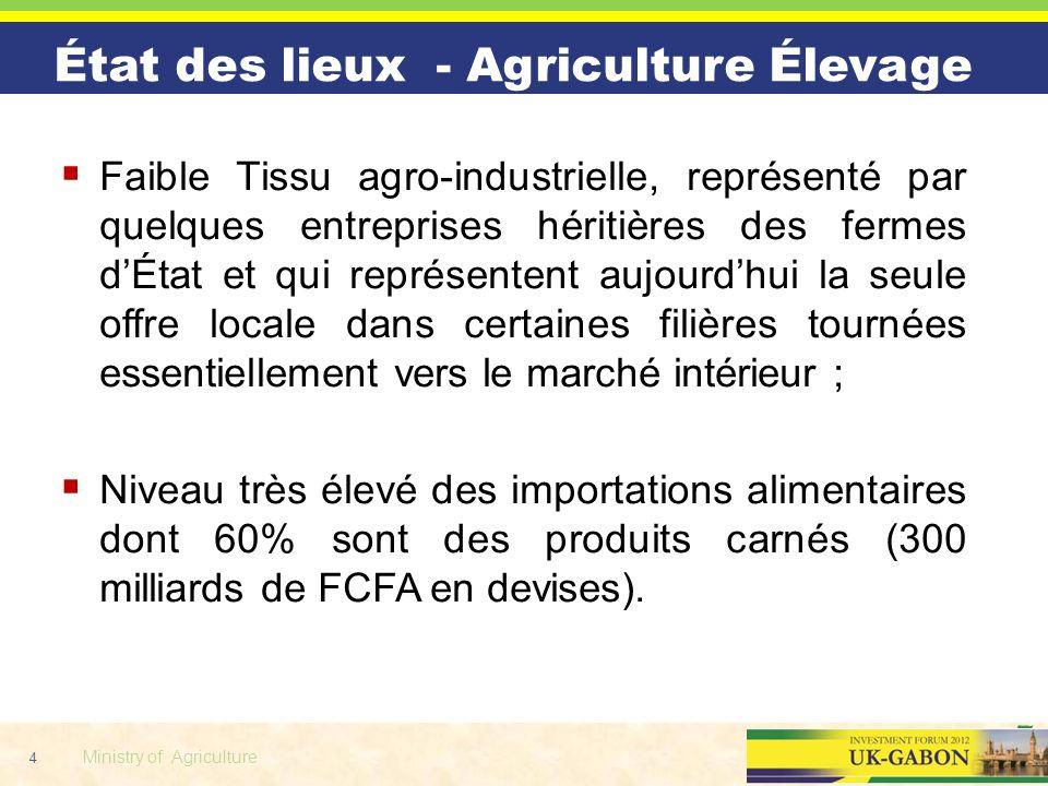 4 Ministry of Agriculture État des lieux - Agriculture Élevage Faible Tissu agro-industrielle, représenté par quelques entreprises héritières des ferm