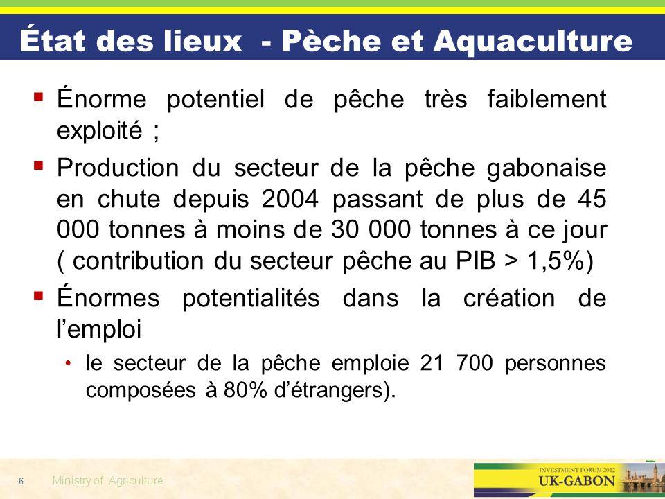 6 Ministry of Agriculture Énorme potentiel de pêche très faiblement exploité ; Production du secteur de la pêche gabonaise en chute depuis 2004 passan