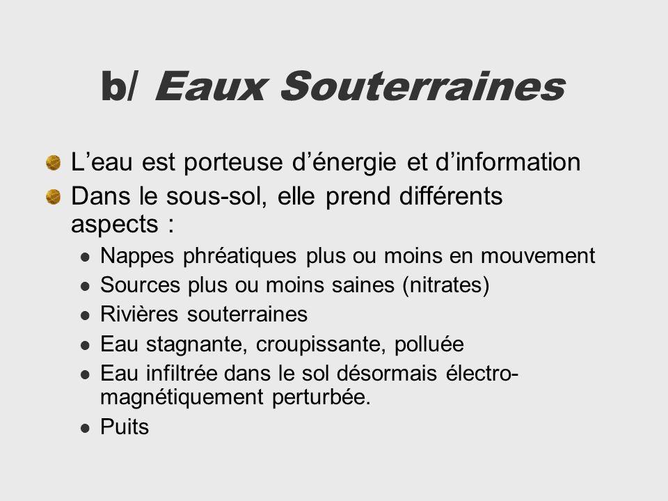 b/ Eaux Souterraines Leau est porteuse dénergie et dinformation Dans le sous-sol, elle prend différents aspects : Nappes phréatiques plus ou moins en