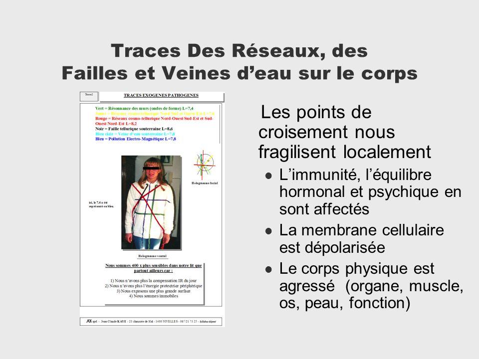 Traces Des Réseaux, des Failles et Veines deau sur le corps Les points de croisement nous fragilisent localement Limmunité, léquilibre hormonal et psy