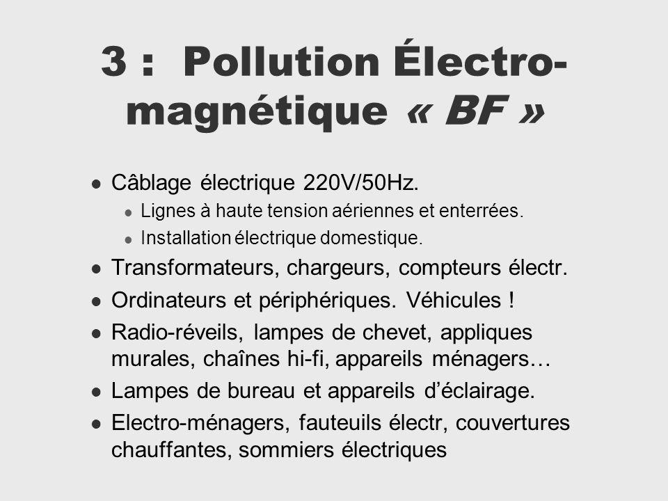 3 : Pollution Électro- magnétique « BF » Câblage électrique 220V/50Hz. Lignes à haute tension aériennes et enterrées. Installation électrique domestiq