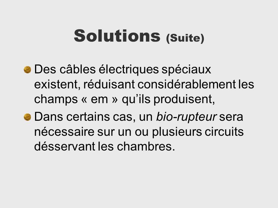 Solutions (Suite) Des câbles électriques spéciaux existent, réduisant considérablement les champs « em » quils produisent, Dans certains cas, un bio-r