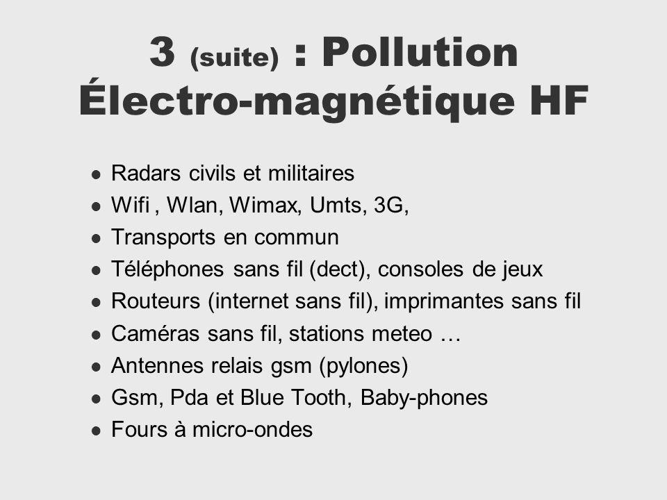 3 (suite) : Pollution Électro-magnétique HF Radars civils et militaires Wifi, Wlan, Wimax, Umts, 3G, Transports en commun Téléphones sans fil (dect),