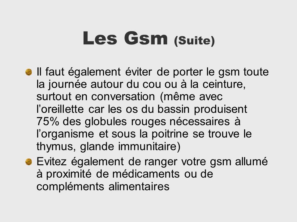 Les Gsm (Suite) Il faut également éviter de porter le gsm toute la journée autour du cou ou à la ceinture, surtout en conversation (même avec loreille