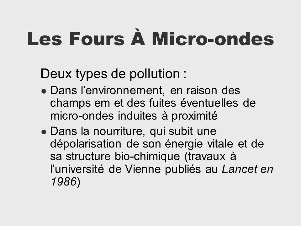 Les Fours À Micro-ondes Deux types de pollution : Dans lenvironnement, en raison des champs em et des fuites éventuelles de micro-ondes induites à pro
