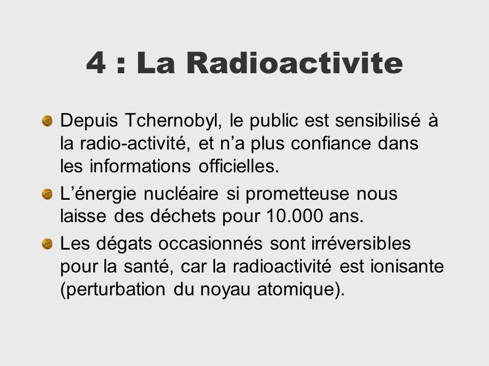 4 : La Radioactivite Depuis Tchernobyl, le public est sensibilisé à la radio-activité, et na plus confiance dans les informations officielles. Lénergi