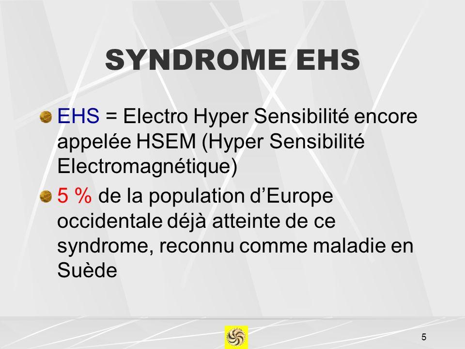 SYNDROME EHS EHS = Electro Hyper Sensibilité encore appelée HSEM (Hyper Sensibilité Electromagnétique) 5 % de la population dEurope occidentale déjà a