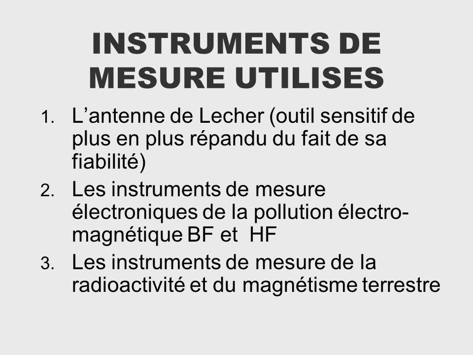 INSTRUMENTS DE MESURE UTILISES 1. Lantenne de Lecher (outil sensitif de plus en plus répandu du fait de sa fiabilité) 2. Les instruments de mesure éle