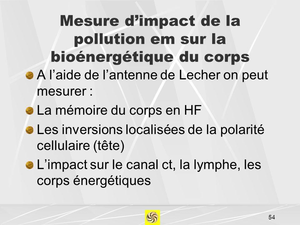 Mesure dimpact de la pollution em sur la bioénergétique du corps A laide de lantenne de Lecher on peut mesurer : La mémoire du corps en HF Les inversi