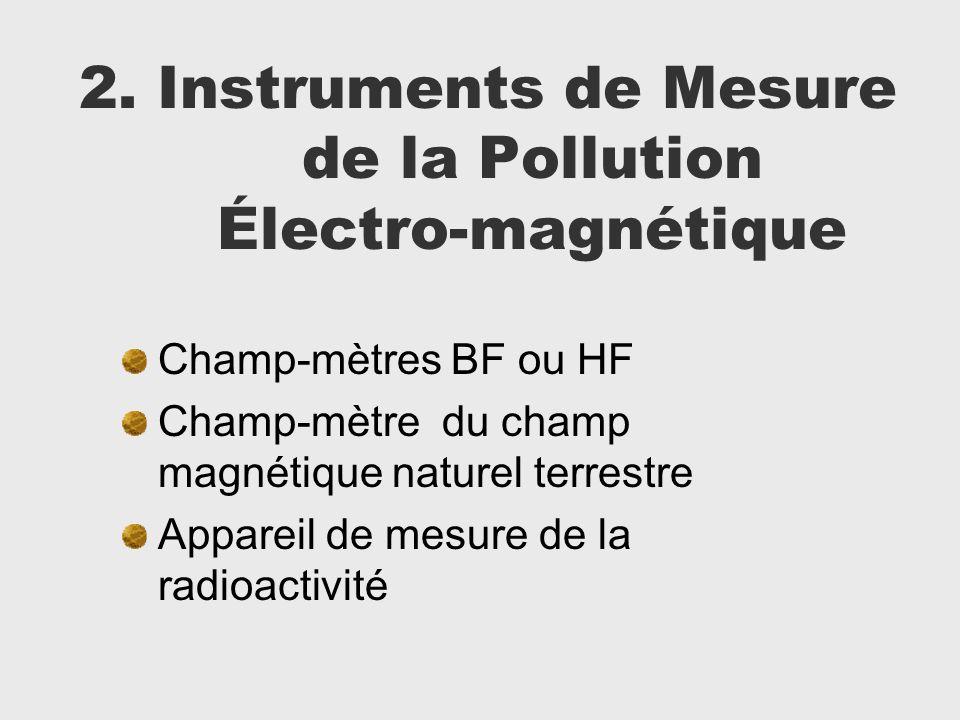 2. Instruments de Mesure de la Pollution Électro-magnétique Champ-mètres BF ou HF Champ-mètre du champ magnétique naturel terrestre Appareil de mesure