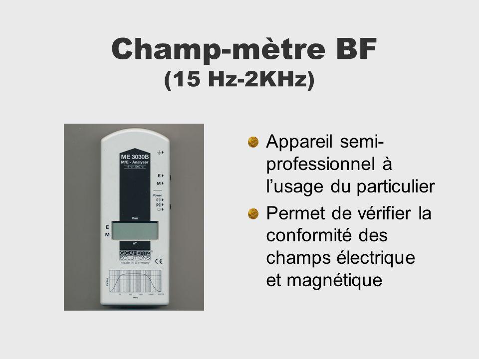 Champ-mètre BF (15 Hz-2KHz) Appareil semi- professionnel à lusage du particulier Permet de vérifier la conformité des champs électrique et magnétique